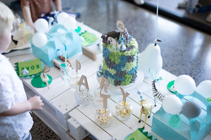 Animal Themed Party Table from a Modern Minimal Wild & Three Birthday Party on Kara's Party Ideas | KarasPartyIdeas.com (8)