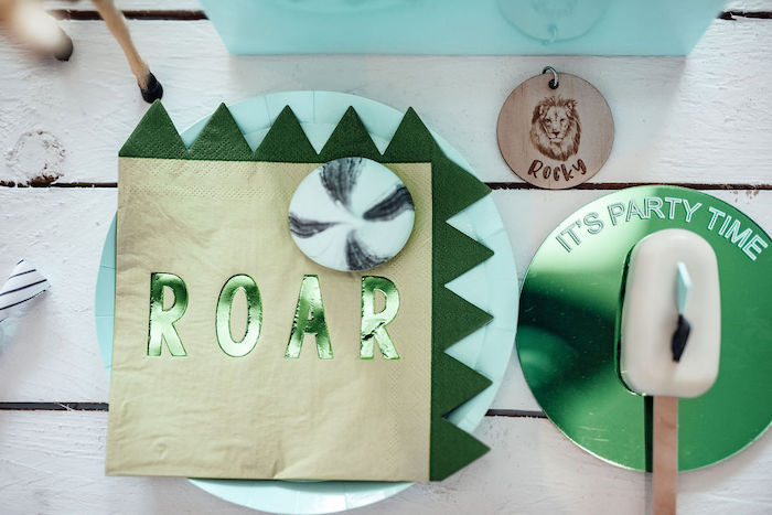 ROAR Table Setting from a Modern Minimal Wild & Three Birthday Party on Kara's Party Ideas | KarasPartyIdeas.com (7)