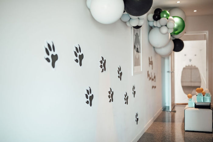 Footprint Wall from a Modern Minimal Wild & Three Birthday Party on Kara's Party Ideas | KarasPartyIdeas.com (31)