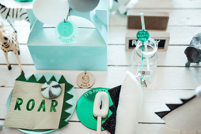 ROAR Table Setting from a Modern Minimal Wild & Three Birthday Party on Kara's Party Ideas | KarasPartyIdeas.com (30)