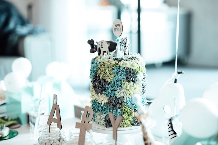 Wild Animal Shag Cake from a Modern Minimal Wild & Three Birthday Party on Kara's Party Ideas | KarasPartyIdeas.com (29)