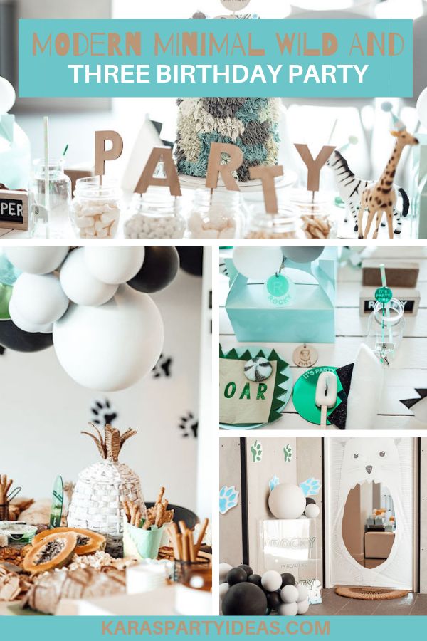 Modern Minimal Wild & Three Birthday Party via Kara's Party Ideas - KarasPartyIdeas.com