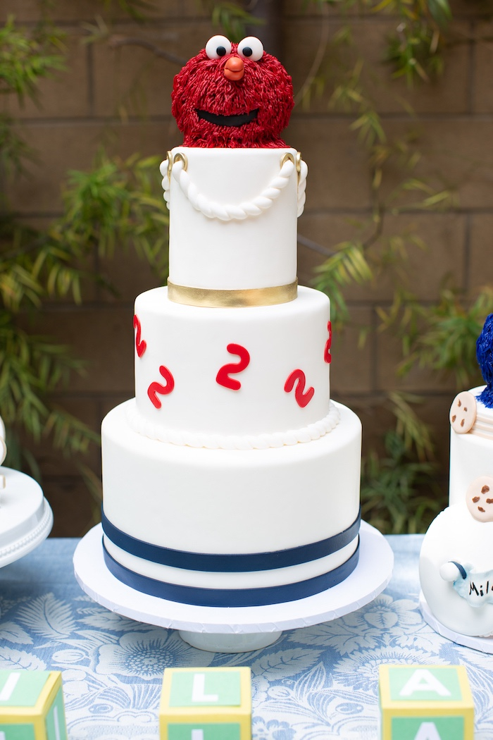 Nautical Elmo Birthday Cake from a Nautical Sesame Street Birthday Party on Kara's Party Ideas | KarasPartyIdeas.com (12)