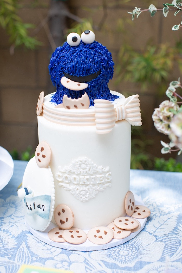 Cookie Monster Cake from a Nautical Sesame Street Birthday Party on Kara's Party Ideas | KarasPartyIdeas.com (11)
