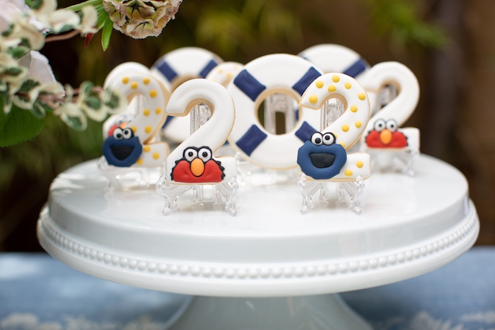 Nautical Elmo + Cookie Monster Cookies from a Nautical Sesame Street Birthday Party on Kara's Party Ideas | KarasPartyIdeas.com (10)