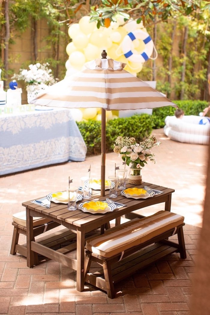 Picnic Guest Table from a Nautical Sesame Street Birthday Party on Kara's Party Ideas | KarasPartyIdeas.com (17)