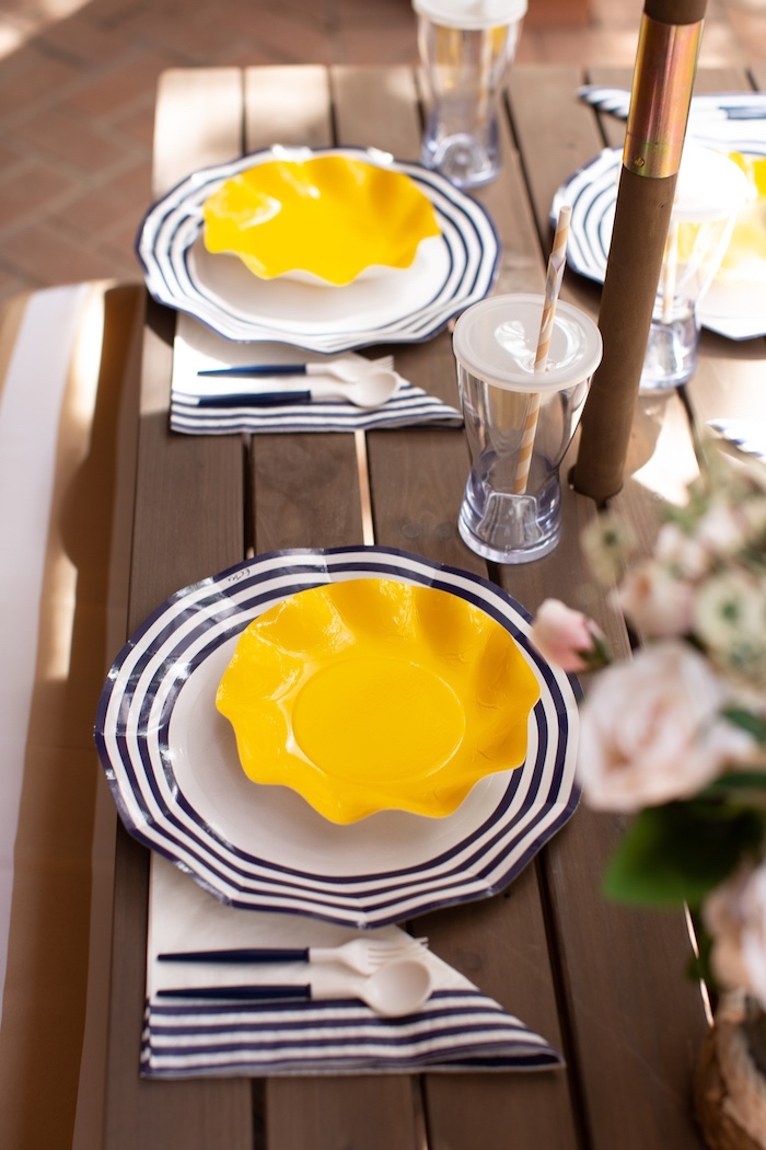 Yellow + Blue Table Settings from a Nautical Sesame Street Birthday Party on Kara's Party Ideas | KarasPartyIdeas.com (15)