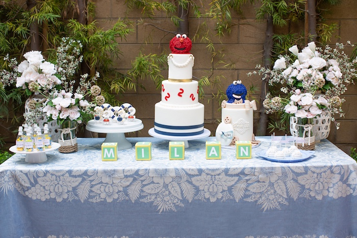 Sesame Street-inspired Dessert Table from a Nautical Sesame Street Birthday Party on Kara's Party Ideas | KarasPartyIdeas.com (14)