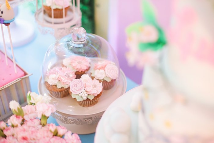 Flower Cupcakes from a Nursery Rhyme Birthday Party on Kara's Party Ideas | KarasPartyIdeas.com (27)