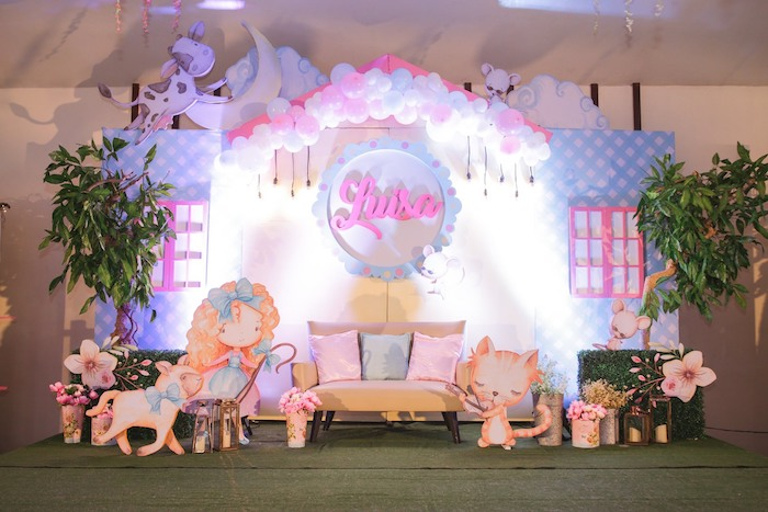 Nursery Rhyme Stage + Photo Lounge from a Nursery Rhyme Birthday Party on Kara's Party Ideas | KarasPartyIdeas.com (24)