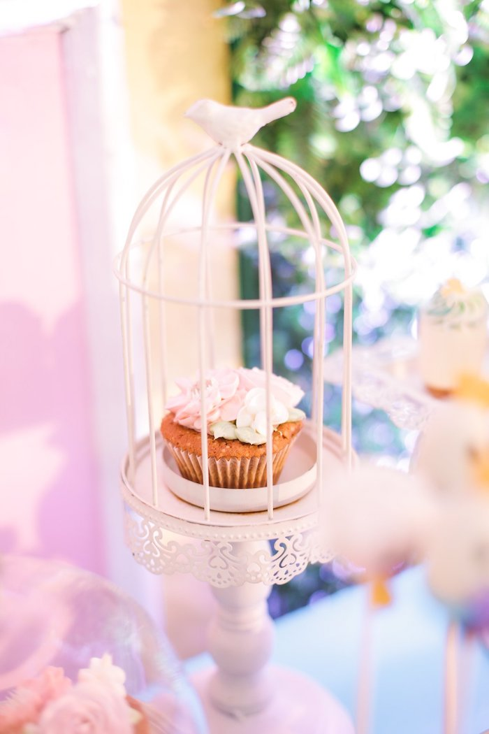Bird-caged Muffin + Cupcake from a Nursery Rhyme Birthday Party on Kara's Party Ideas | KarasPartyIdeas.com (23)