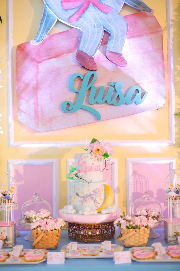 Nursery Rhyme Themed Cake Table from a Nursery Rhyme Birthday Party on Kara's Party Ideas | KarasPartyIdeas.com (22)