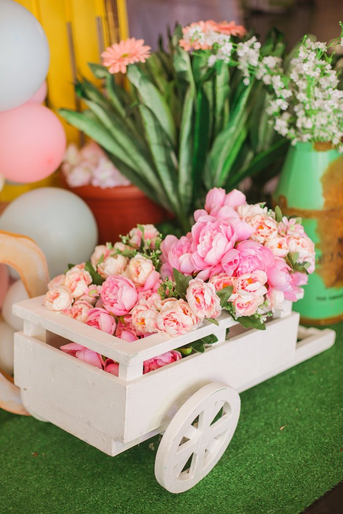 Wheelbarrow Blooms from a Nursery Rhyme Birthday Party on Kara's Party Ideas | KarasPartyIdeas.com (38)