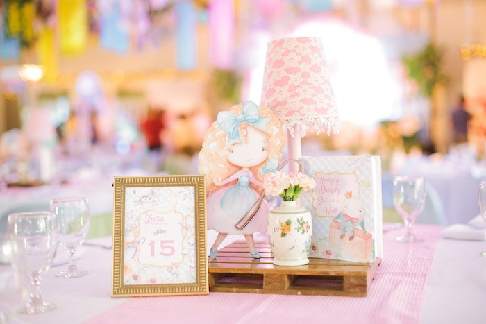 Nursery Rhyme-inspired Table Centerpiece from a Nursery Rhyme Birthday Party on Kara's Party Ideas | KarasPartyIdeas.com (34)