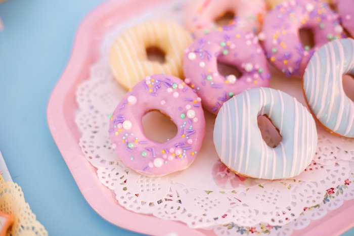 Striped & Sprinkled Donuts from a Nursery Rhyme Birthday Party on Kara's Party Ideas | KarasPartyIdeas.com (33)