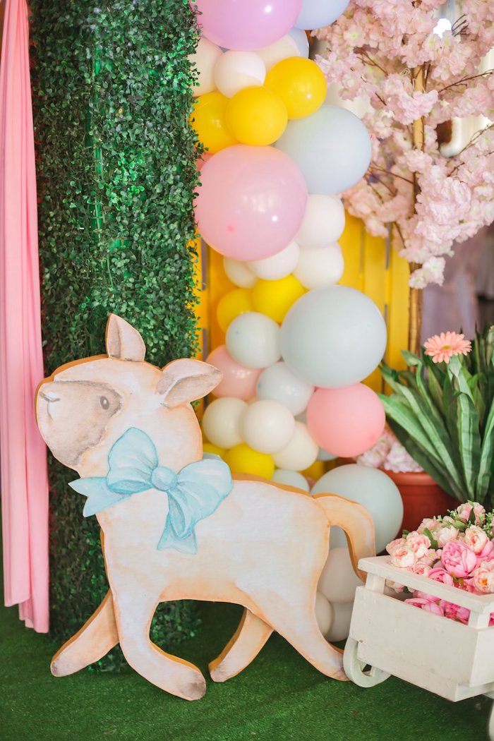 Sheep Standee from a Nursery Rhyme Birthday Party on Kara's Party Ideas | KarasPartyIdeas.com (30)