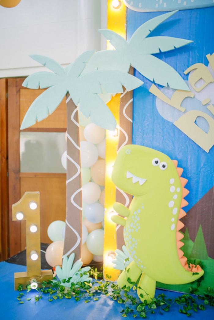 Dinosaur Backdrop + Standee from a Pastel Dinosaur Birthday Party on Kara's Party Ideas | KarasPartyIdeas.com (24)