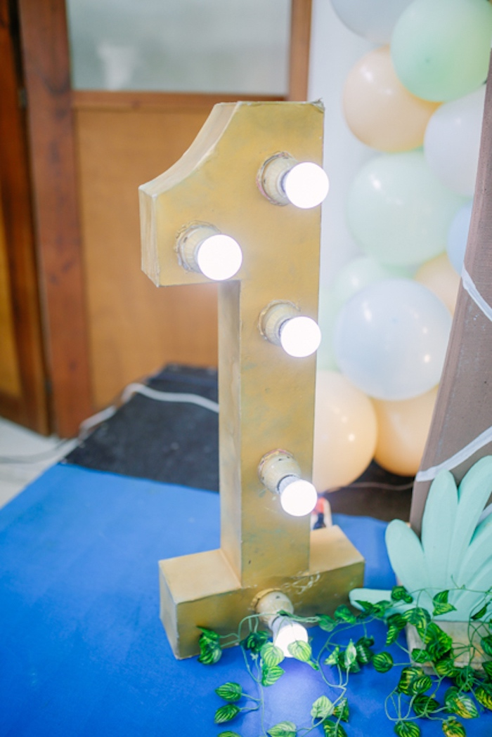 """1"" Marquee Light from a Pastel Dinosaur Birthday Party on Kara's Party Ideas 