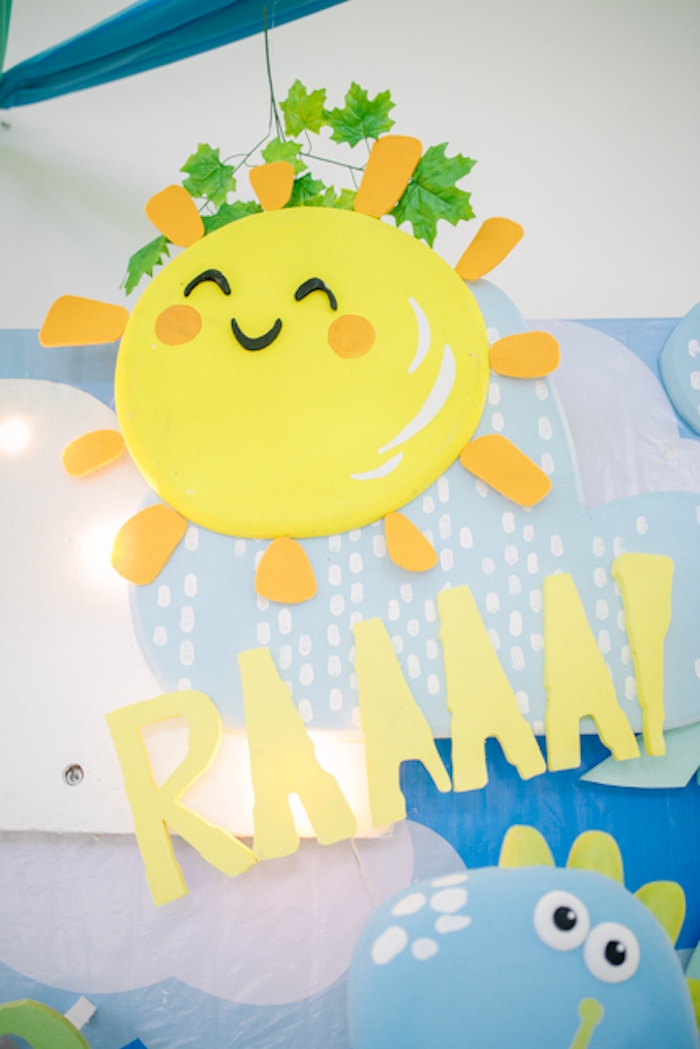 Hanging Sunshine from a Pastel Dinosaur Birthday Party on Kara's Party Ideas | KarasPartyIdeas.com (17)