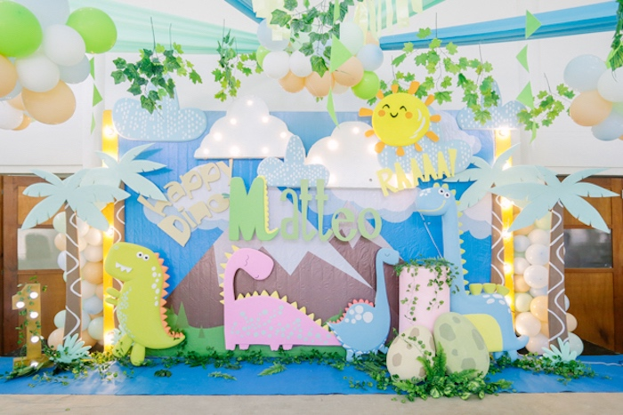 Dinosaur Party Backdrop + Stage from a Pastel Dinosaur Birthday Party on Kara's Party Ideas | KarasPartyIdeas.com (16)