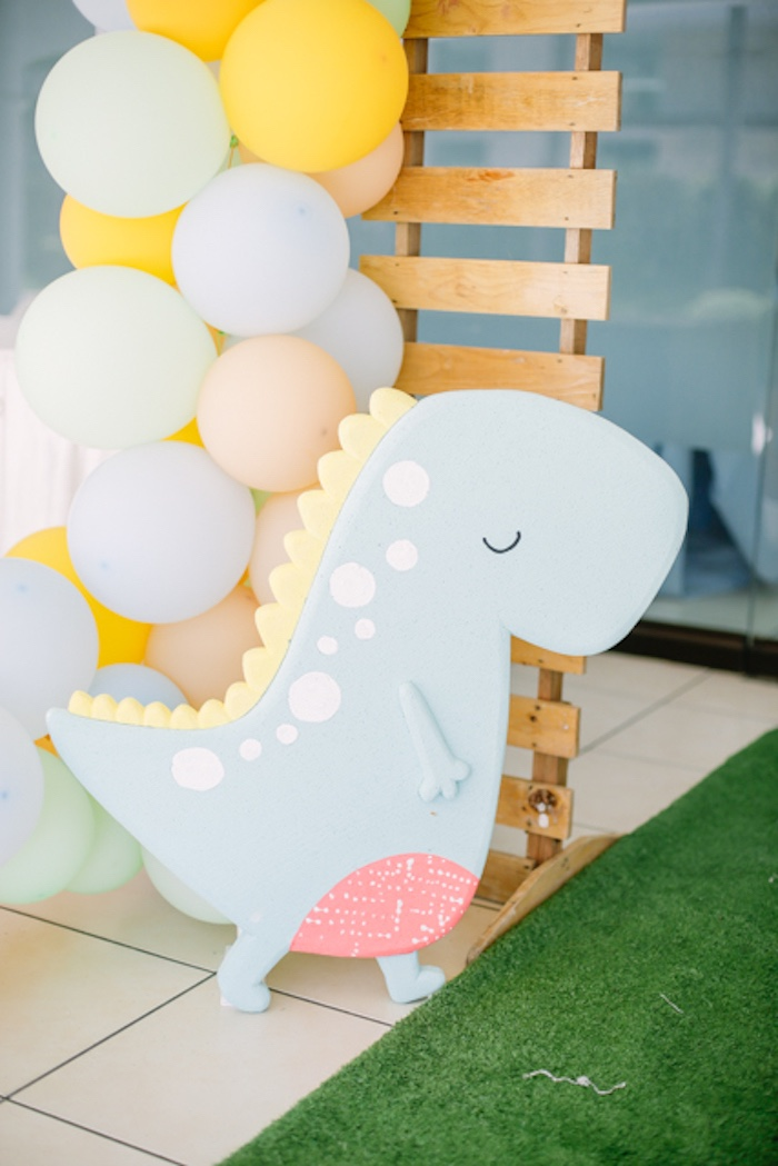 Dinosaur Standee + Pallet Board Balloon Backdrop from a Pastel Dinosaur Birthday Party on Kara's Party Ideas | KarasPartyIdeas.com (33)