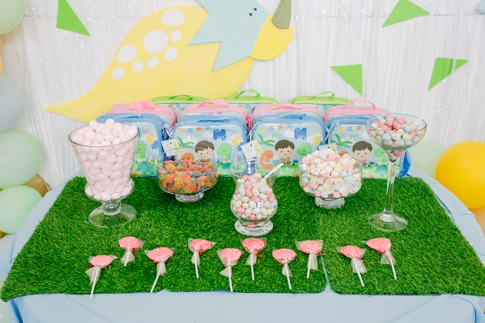 Dinosaur Candy Buffet from a Pastel Dinosaur Birthday Party on Kara's Party Ideas | KarasPartyIdeas.com (13)
