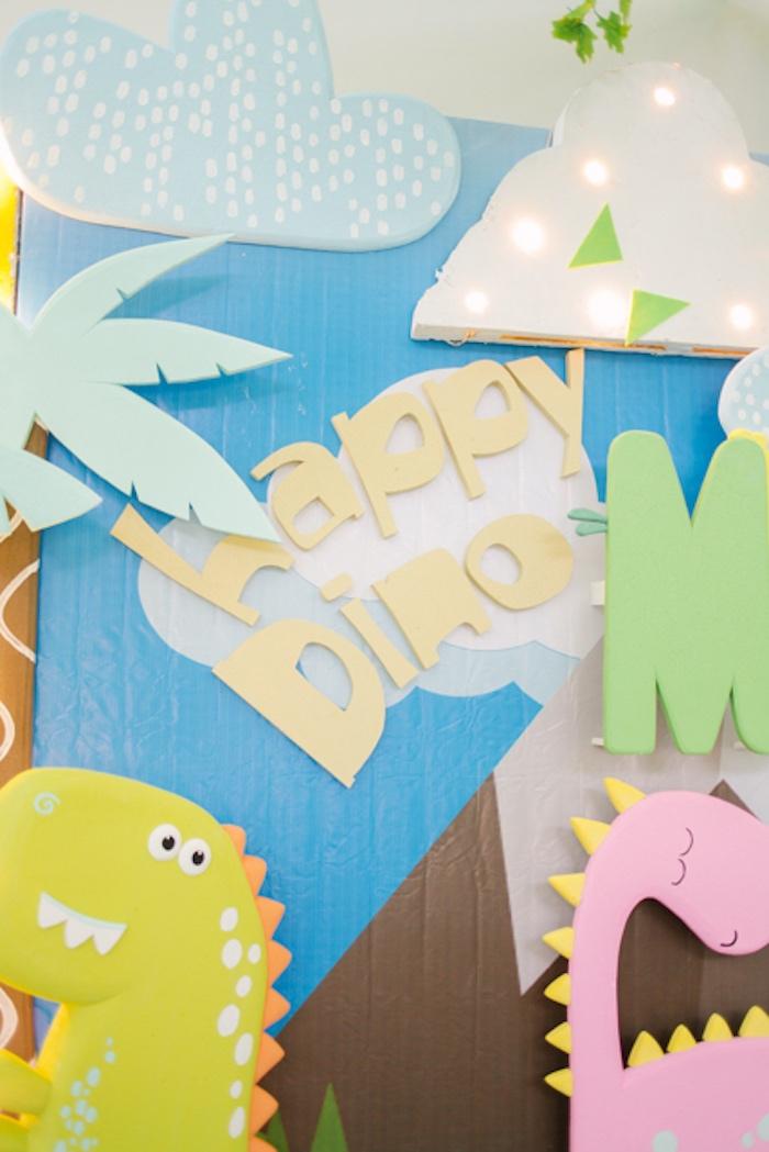 Happy Dino - Dino Backdrop Signage from a Pastel Dinosaur Birthday Party on Kara's Party Ideas | KarasPartyIdeas.com (12)