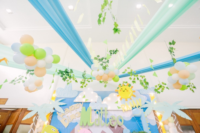 Party Ceiling-scape from a Pastel Dinosaur Birthday Party on Kara's Party Ideas | KarasPartyIdeas.com (11)