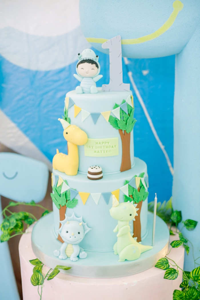 First Birthday Dinosaur Themed Birthday Cake from a Pastel Dinosaur Birthday Party on Kara's Party Ideas | KarasPartyIdeas.com (6)