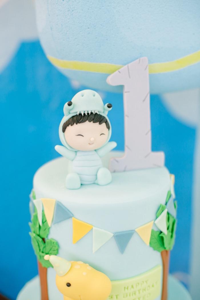 Dinosaur Boy Cake Topper from a Pastel Dinosaur Birthday Party on Kara's Party Ideas | KarasPartyIdeas.com (5)