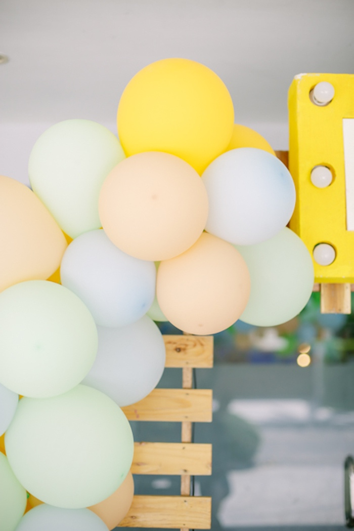 Balloon Garland from a Pastel Dinosaur Birthday Party on Kara's Party Ideas | KarasPartyIdeas.com (31)