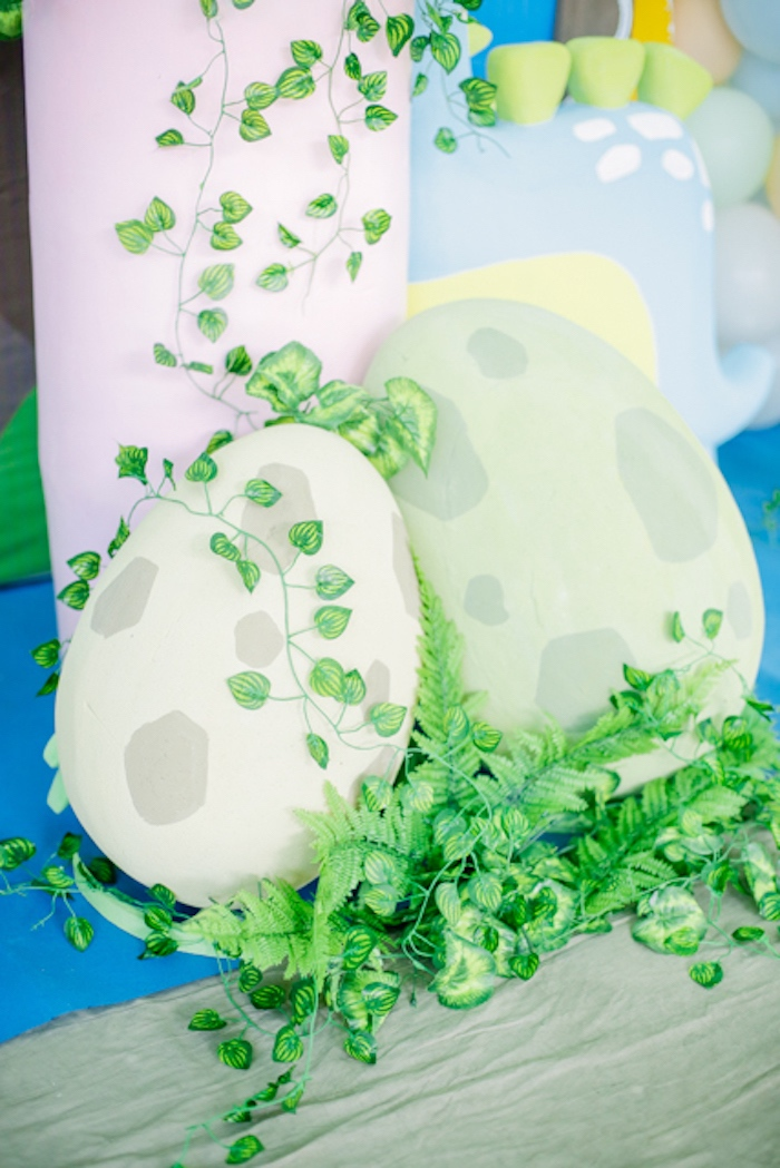 Dinosaur Egg Props from a Pastel Dinosaur Birthday Party on Kara's Party Ideas | KarasPartyIdeas.com (30)
