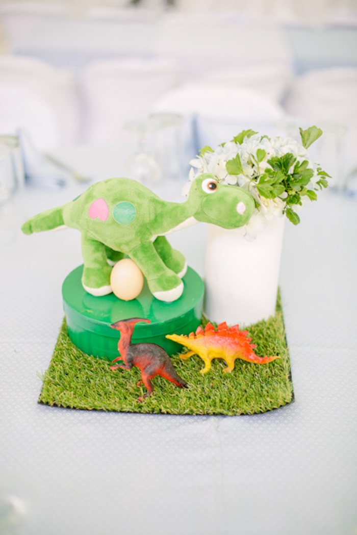 Dinosaur Themed Table Centerpiece from a Pastel Dinosaur Birthday Party on Kara's Party Ideas | KarasPartyIdeas.com (28)