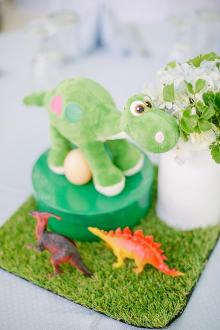 Dinosaur Themed Table Centerpiece from a Pastel Dinosaur Birthday Party on Kara's Party Ideas | KarasPartyIdeas.com (27)