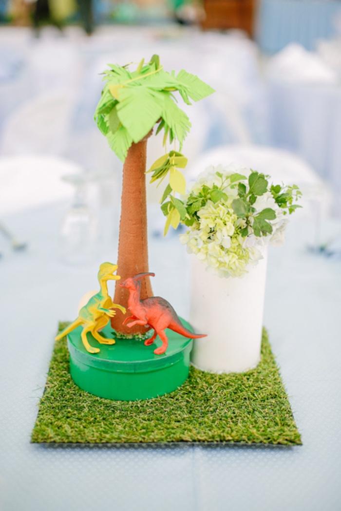 Dinosaur Themed Table Centerpiece from a Pastel Dinosaur Birthday Party on Kara's Party Ideas | KarasPartyIdeas.com (26)