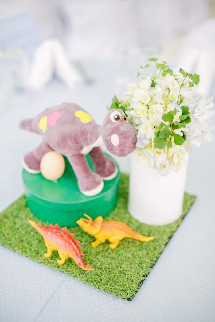 Dinosaur Themed Table Centerpiece from a Pastel Dinosaur Birthday Party on Kara's Party Ideas | KarasPartyIdeas.com (25)