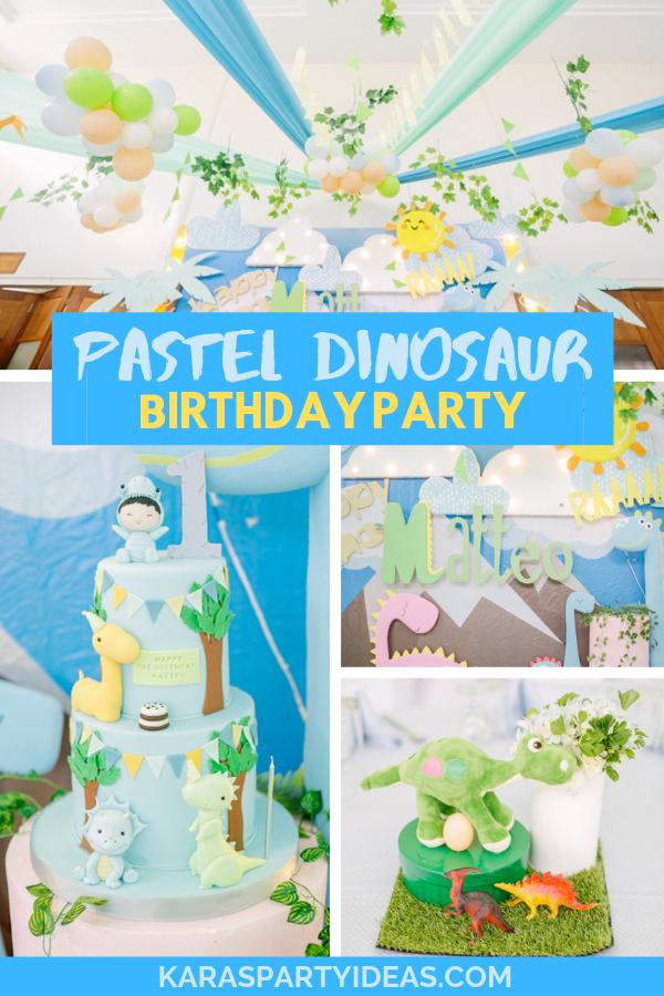 Pastel Dinosaur Birthday Party via Kara's Party Ideas - KarasPartyIdeas.com
