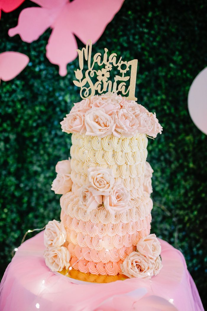 Two-tiered Floral Pink + White Ombre Cake from a Pastel Garden Birthday Party on Kara's Party Ideas | KarasPartyIdeas.com (16)
