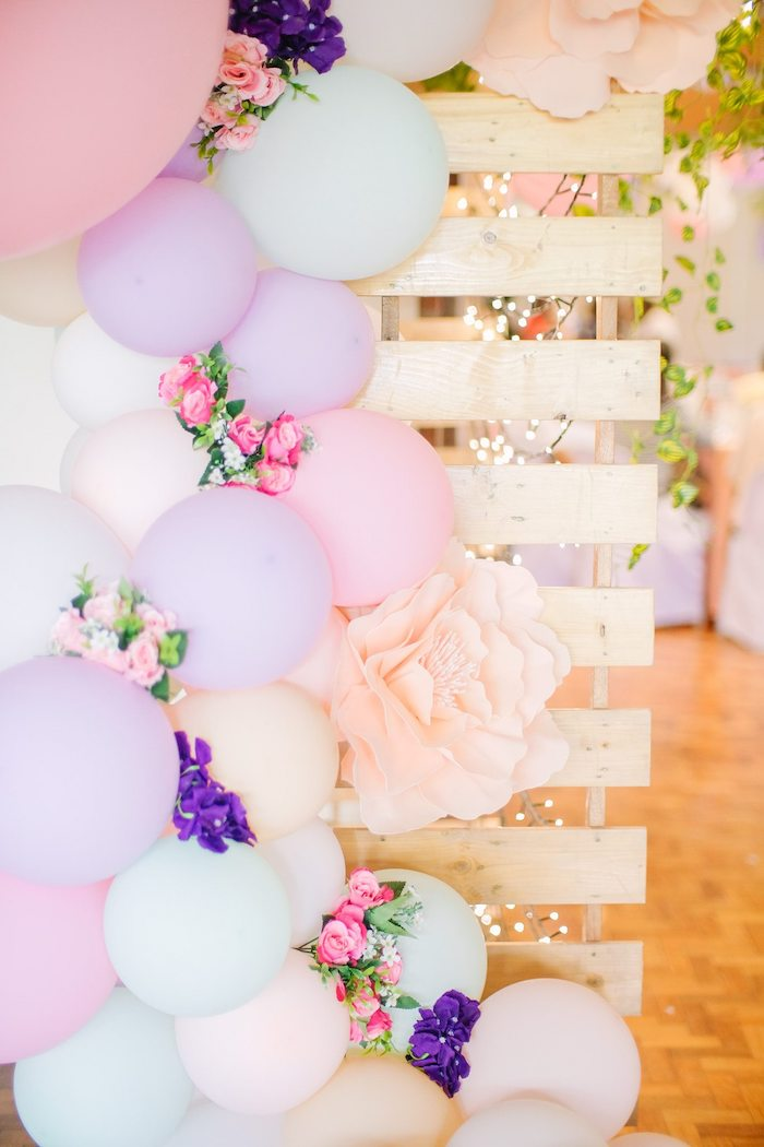 Floral Balloon Garland + Pallet Board Backdrop from a Pastel Garden Birthday Party on Kara's Party Ideas | KarasPartyIdeas.com (14)