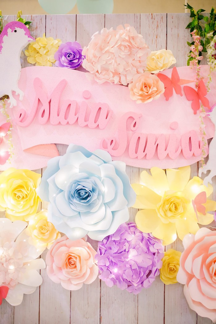 Custom Paper Flower Backdrop Sign from a Pastel Garden Birthday Party on Kara's Party Ideas | KarasPartyIdeas.com (13)