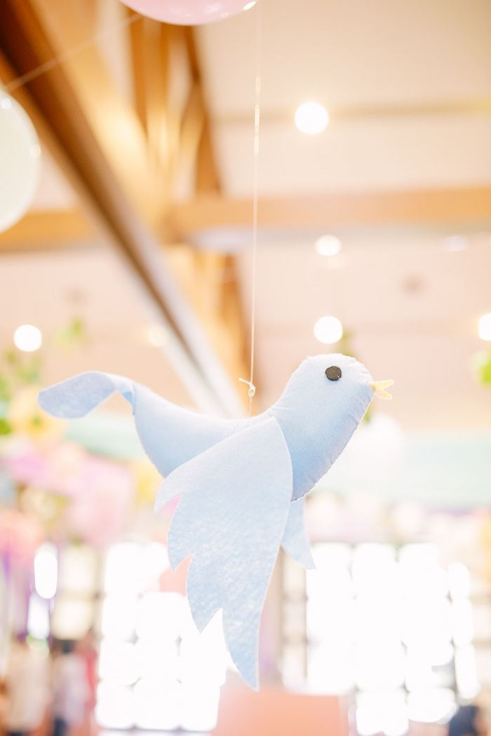 Hanging Plush Bird from a Pastel Garden Birthday Party on Kara's Party Ideas | KarasPartyIdeas.com (9)