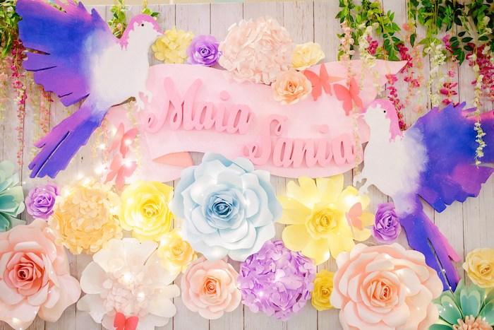 Paper Flower Backdrop with Twinkle Lights from a Pastel Garden Birthday Party on Kara's Party Ideas | KarasPartyIdeas.com (8)