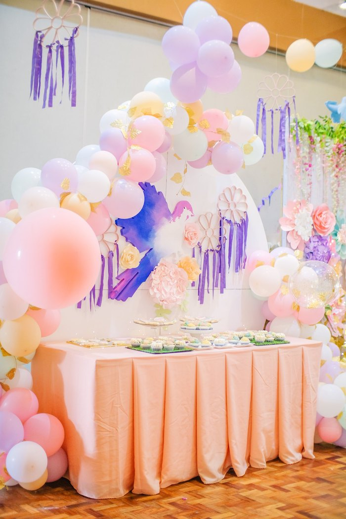 Garden Themed Dessert Table from a Pastel Garden Birthday Party on Kara's Party Ideas | KarasPartyIdeas.com (7)