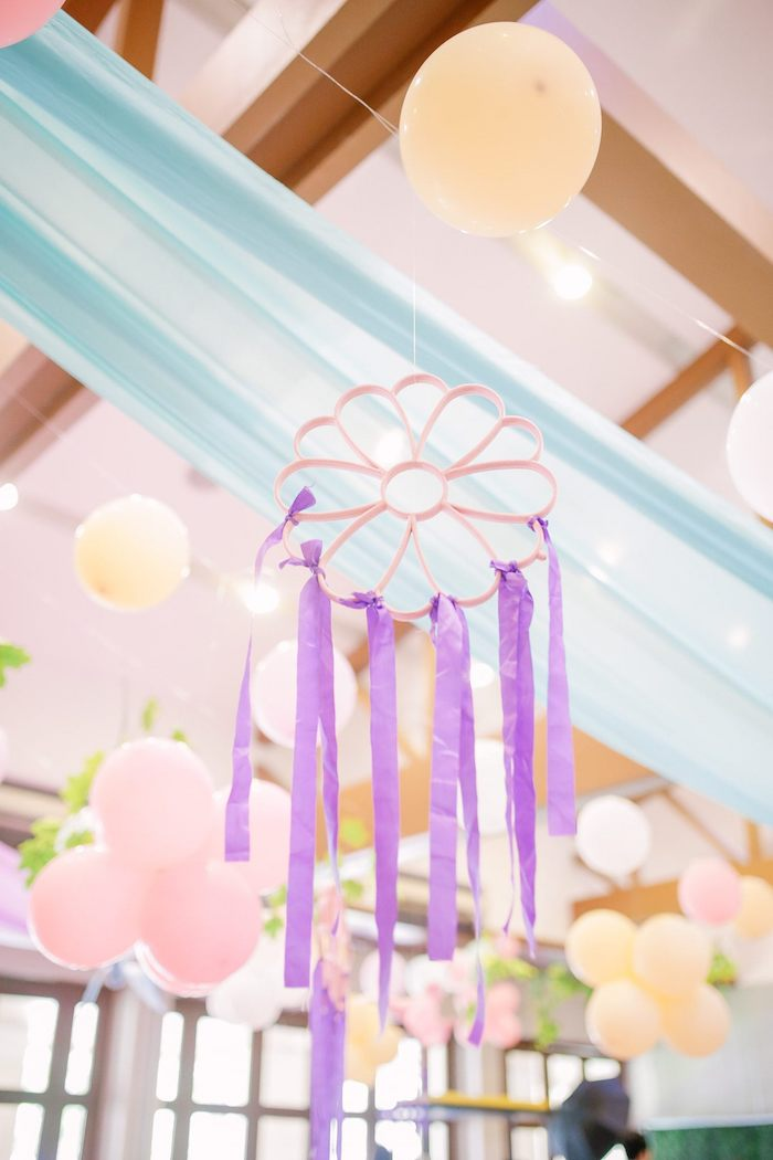 Flower Tassel from a Pastel Garden Birthday Party on Kara's Party Ideas | KarasPartyIdeas.com (25)