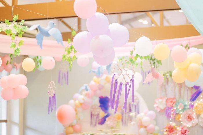 Garden-inspired Balloon + Bird + Tassel Ceiling from a Pastel Garden Birthday Party on Kara's Party Ideas | KarasPartyIdeas.com (22)