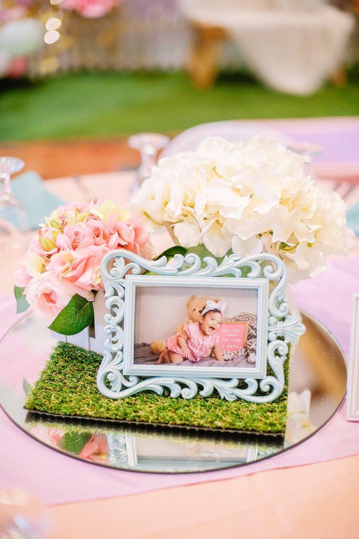 Garden Themed Table Centerpiece from a Pastel Garden Birthday Party on Kara's Party Ideas | KarasPartyIdeas.com (21)