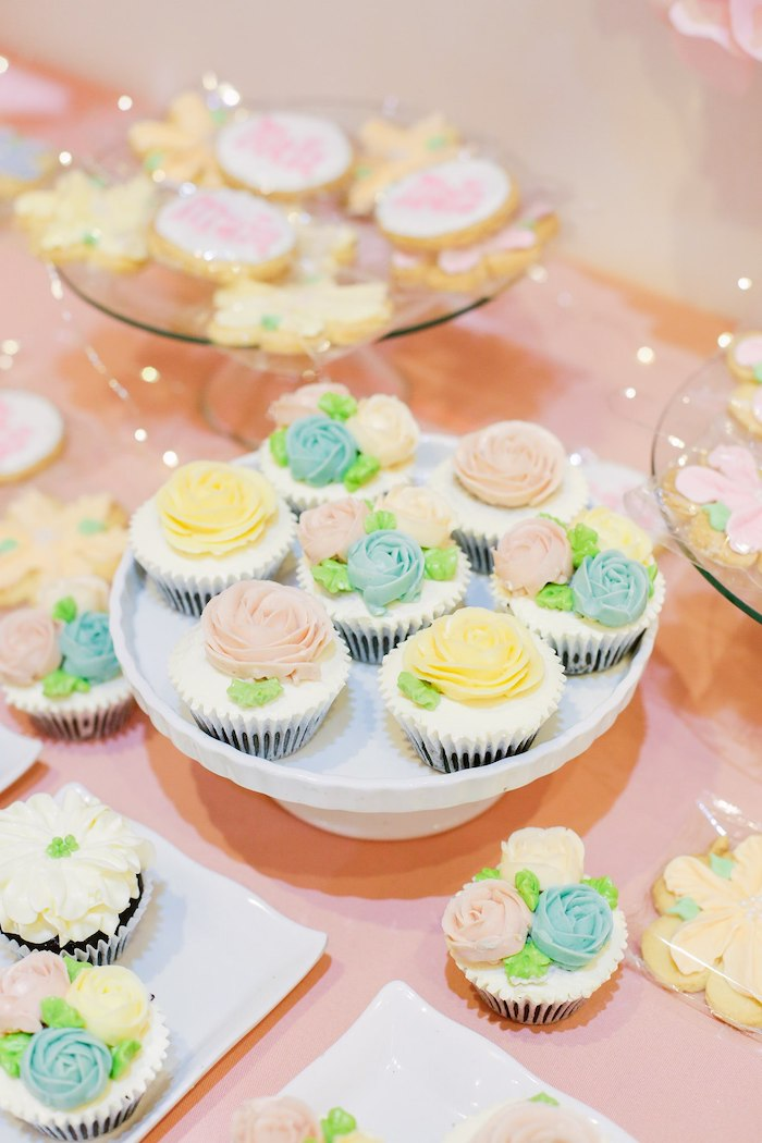 Flower Garden Cupcakes from a Pastel Garden Birthday Party on Kara's Party Ideas | KarasPartyIdeas.com (19)