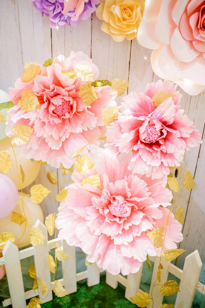 Pink Paper Flowers with Gold Leaf Garlands from a Pastel Garden Birthday Party on Kara's Party Ideas | KarasPartyIdeas.com (18)