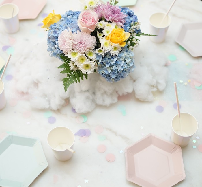 Floral Cloud Table Centerpiece + Table Settings from a Pastel Unicorn Birthday Party on Kara's Party Ideas | KarasPartyIdeas.com (9)