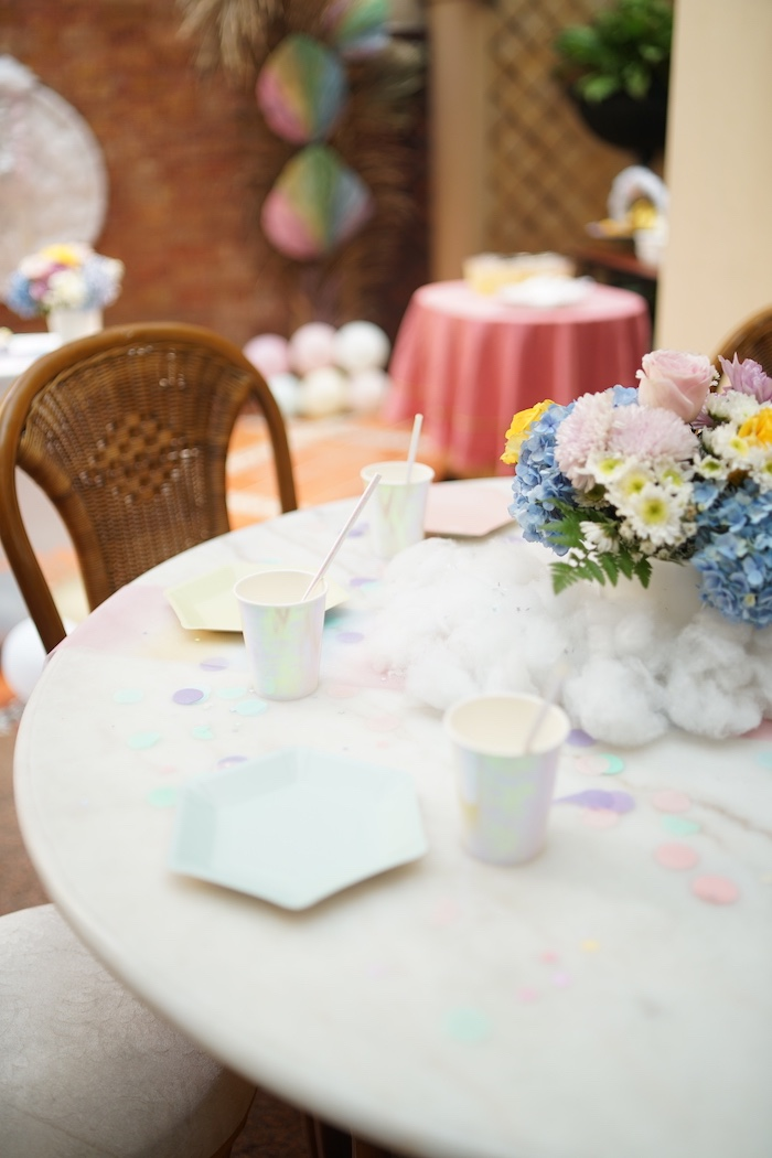 Guest Table from a Pastel Unicorn Birthday Party on Kara's Party Ideas | KarasPartyIdeas.com (8)